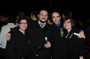 ɉmilie, Brice, moi et Justine, à  la Collation des grades 2011 de l'UQAC – Photo: Jeannot Lévesque
